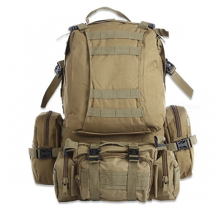 Buy Outdoor Backpack 50L Tactical Sport Bag for Climbing Hiking - Khaki with Litecoins with Free Shipping on Gipsybee.com