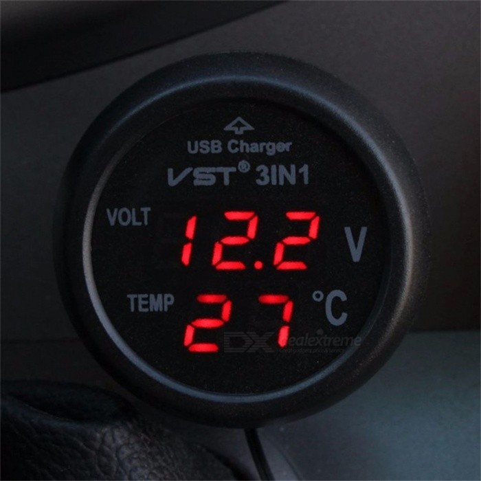 Multifunction 3 in 1 USB Car Charger Voltmeter Thermometer - BlackTemperature Instruments<br>Form  ColorBlackModelN/AQuantity1 pieceMaterialABS + Electronic ComponentsScreen Size- cmCelsius Range-Fahrenheit Range- ?Auto Power OffNoPacking List1 x Car charger Voltmeter Thermometer1 x Charger<br>