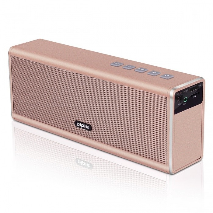 S5 Portable HIFI Wireless Stereo Bluetooth Speaker Hands Free - GoldBluetooth Speakers<br>Form  ColorGoldenModelS5MaterialAluminumQuantity1 pieceShade Of ColorGoldBluetooth HandsfreeYesBluetooth VersionBluetooth V4.0Operating Range10MTotal Power20 WChannels2.0Interface3.5mm,USB 2.0MicrophoneYesSNR75dBFrequency Response20Hz - 20KHzApplicable ProductsUniversalSupports Card TypeMicroSD (TF)Max Extended Capacity32GBBuilt-in Battery Capacity 4400 mAhStandby Time180 hourMusic Play Time10 hourPacking List1 x Bluetooth Speaker1 x USB Cable1 x 3.5mm Audio Cable1 x User Manual<br>