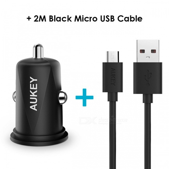 AUKEY CC-S5 Mini Car Charger Dual USB Ports+2M Micro USB Cable - BlackAC Chargers<br>Form  Color2M Micro USB CableModelCC-S5MaterialABSQuantity1 setCompatible ModelsMost portable devicesInput VoltageDC 12-24 VOutput CurrentDC 5V / 4.8 AOutput Power24 WOutput Voltage5 VSplit adapter number2Power AdapterCar Cigarette Lighter PlugCable Length200 cmCertificationQuality Certification:Packing List1 x AUKEY CC-S5 Dual USB Ports Car Charger1 x 2M Micro USB Cable1 x User manual<br>