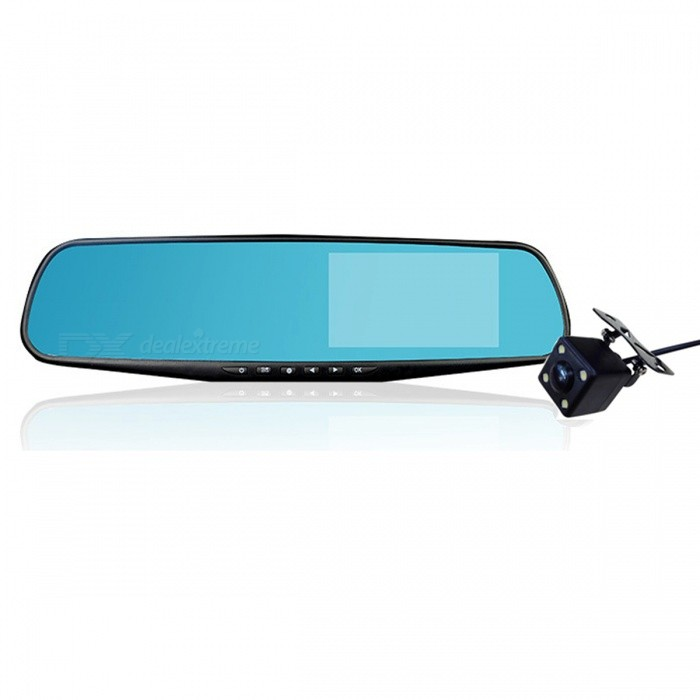 Full HD 1080P Car DVR Camera Rearview Mirror - 2 Lens / 32GB TFCar DVRs<br>Form  ColorTwo Camera Lens - With 32G TF CardModel-Quantity1 setMaterialPlasticChipsetOthers,N/AOther FeaturesOthers,N/AWide Angle170°-189°Camera Lens2Camera PixelOthers,12MPExternal Camera PixelOthers,YesWide AngleOthers,170°Screen SizeOthers,4.3 inchVideo FormatAVIVideo ResolutionOthers,FHD,1920*1080; 1280*720; 720*480;Still Image ResolutionOthers,N/AMicrophoneYesG-sensorYesMax. Capacity32GBStorage ExpansionTFData interfaceOthers,N/AWorking Voltage   5 VMenu LanguageOthers,English, Russian, French, German, Italian, Korean, Portuguese, SpanishPacking List1 x Car DVR<br>