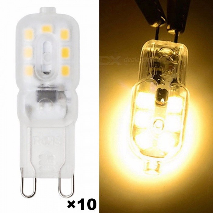 10PCS/Lot G9 4W 14-2835 300lm 3000K Warm White LED Bulbs - TransparentG9<br>Color BINWarm White--Transparent (110V)MaterialSiliconeForm  ColorWhite + TranslucentQuantity10 piecesPower4WRated VoltageAC 110 VConnector TypeG9Chip BrandEpistarEmitter TypeLEDTotal Emitters14Actual Lumens300 lumensColor Temperature3000KDimmableNoBeam Angle360 °Packing List10 x LED Bulbs<br>