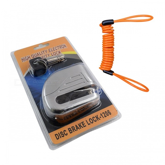 Disc Brakes Bicycle Small Anti-Theft Alarm Lock with Rope - SilverBike Accessories<br>Form  ColorSilver + RopeModelN/AQuantity1 setMaterialZinc alloyBattery TypeOthers,Button batteriesBattery Number6TypeOthers,Disc brake alarm lockPacking List1 x Disc brake lock alarm1 x Rope<br>