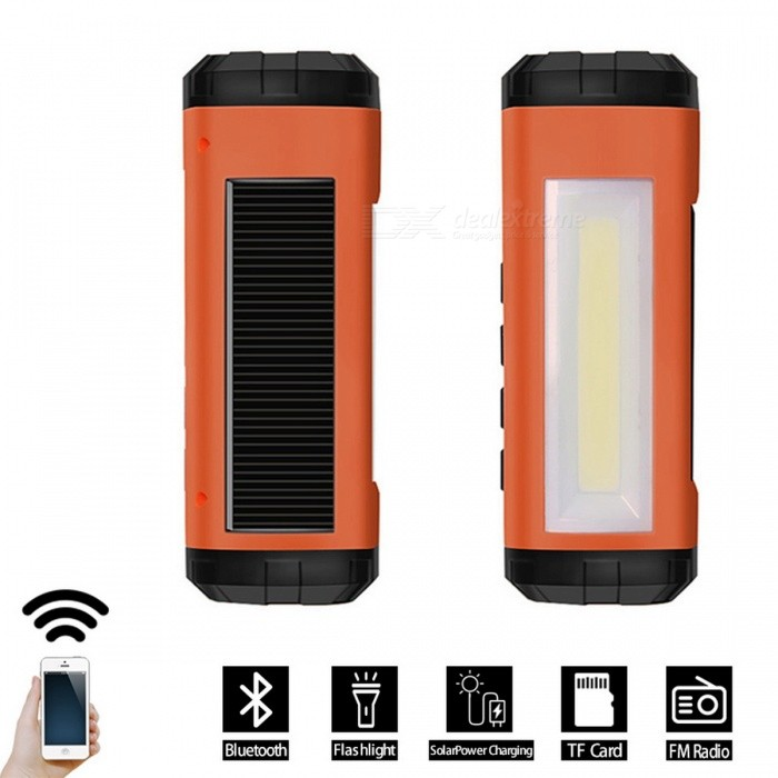 Solar Powered Wireless Bluetooth Speaker w/ LED Flashlight - OrangeBluetooth Speakers<br>Form  ColorOrangeMaterialPlasticQuantity1 pieceShade Of ColorOrangeBluetooth HandsfreeNoBluetooth VersionBluetooth V2.0Operating Range10MTotal Power4 WInterface3.5mmMicrophoneNoApplicable ProductsUniversalRadio TunerYesSupports Card TypeMicroSD (TF)Built-in Battery Capacity 1200 mAhStandby Time12 hourMusic Play Time4 hourPacking List1 x Bluetooth Speaker1 x Manual<br>