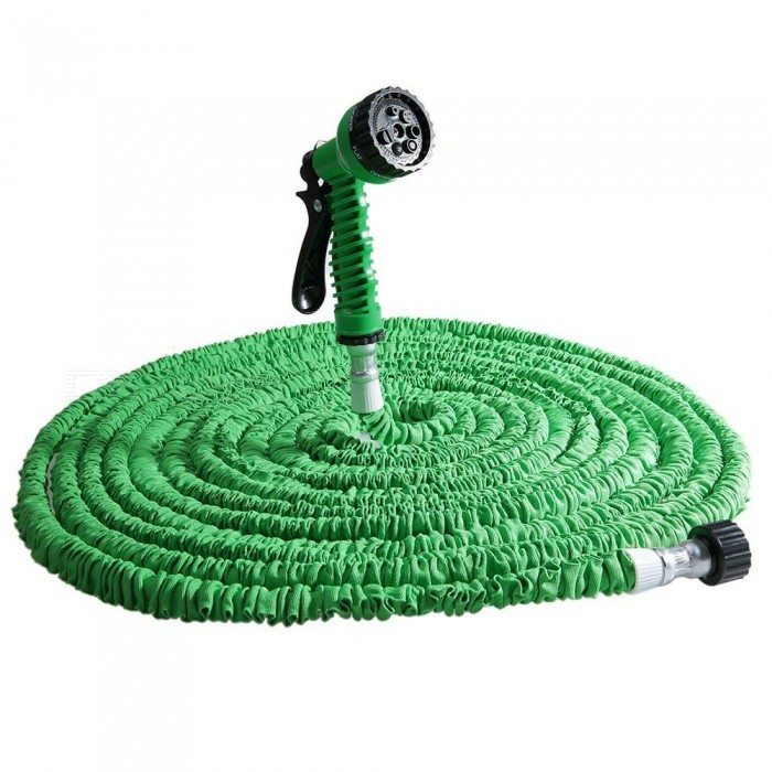 Expandable Garden Flexible Hose with 7-Mode Spray Gun - Green (100Ft)Gardening Tools<br>Form  ColorGreen---100FTQuantity1 setMaterialPlastic HosesPacking List1 x Expandalble Garden Hose Wate Pipe with 7 Modes Spray Gun1 x Spray Gun1 x English Manual<br>