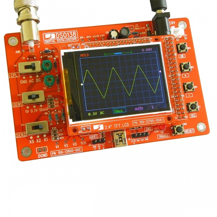DIY DSO138 Digital Oscilloscope Learning Kit with Case (No Soldered)Oscilloscope &amp; Logic Analyzer<br>Form  ColorTransparent + RedModelDSO138Quantity1 DX.PCM.Model.AttributeModel.UnitMaterialPCB + AcrylicPacking List1 x DIY Cover for DSO1381 x DSO138 Oscilloscope Kit (The DIY kit is not soldered)1 x Probe3 x User Manuals (English)<br>