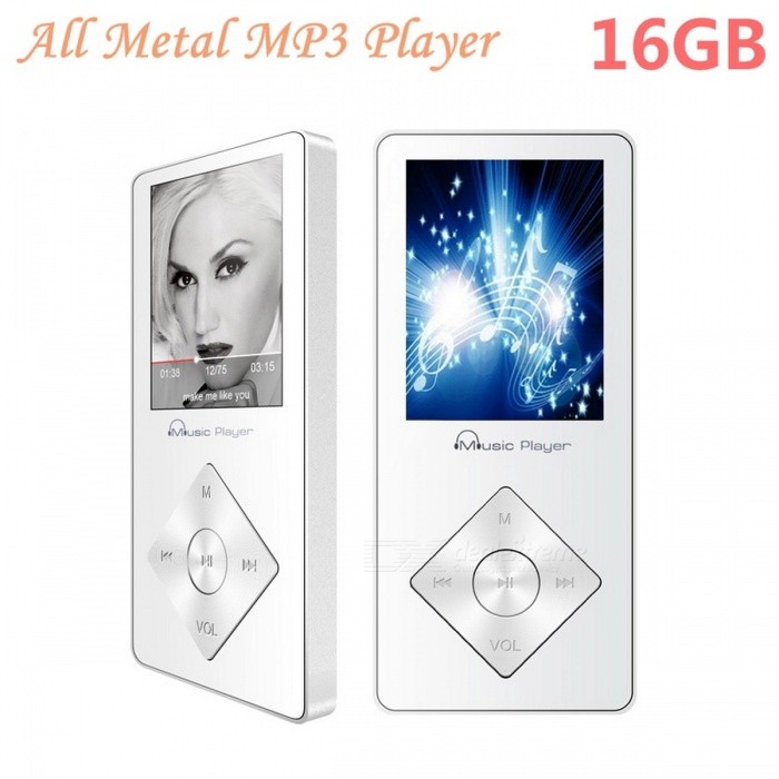 MP3 Player Built-in Speaker 1.8 Screen with FM Radio - White (16GB)MP3 Players<br>Form  ColorWhiteBuilt-in Memory / RAM16GBQuantity1 setMaterialMetalShade Of ColorWhiteScreen TypeTFTScreen Size1.8 inchScreen Color262KMemory Card TypeTFMax Extended Capacity64GBAudio Compression FormatOthers,MP3/APE/AAC/FLAC/OGG/WMAVideoOthers,AMV/AVIRecord Audio FormatMP3E-bookTXTTuner BandsFMHeadphone Jack3.5mmBattery Capacity420 mAhBattery TypeLi-polymer batteryPacking List1 x HiFi music player1 x USB cable1 x Earphones1 x User manual<br>