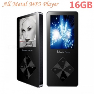 """MP3 Player Built-in Speaker 1.8"""" Screen with FM Radio - Black (16GB)"""