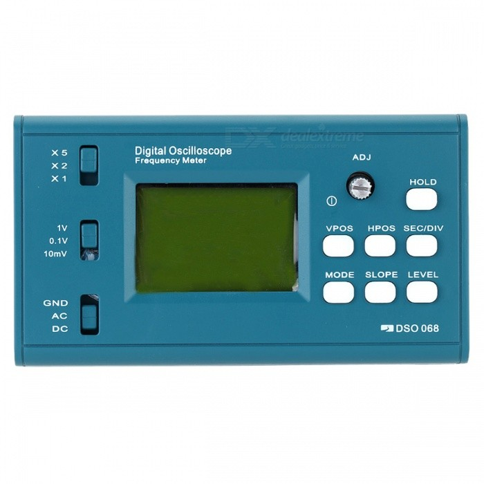 LCD Digital Storage Oscilloscope, Frequency Meter with BNC ProbeOscilloscope &amp; Logic Analyzer<br>Form  ColorBlueModelN/AQuantity1 DX.PCM.Model.AttributeModel.UnitMaterialABSPacking List1 x Digital Oscilloscope DIY Kit1 x BNC Probe1 x USB Cable 1 x Assembly Guide (English)1 x User Manual (English)<br>