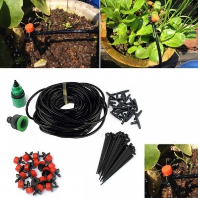 Dripper Kit Automatic Plant Self Watering Garden Hose 25m - Black