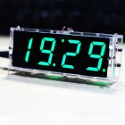 Kompaktes DIY Digital 4-stelliges LED-Uhr-Kit mit transparentem Gehäuse -Green