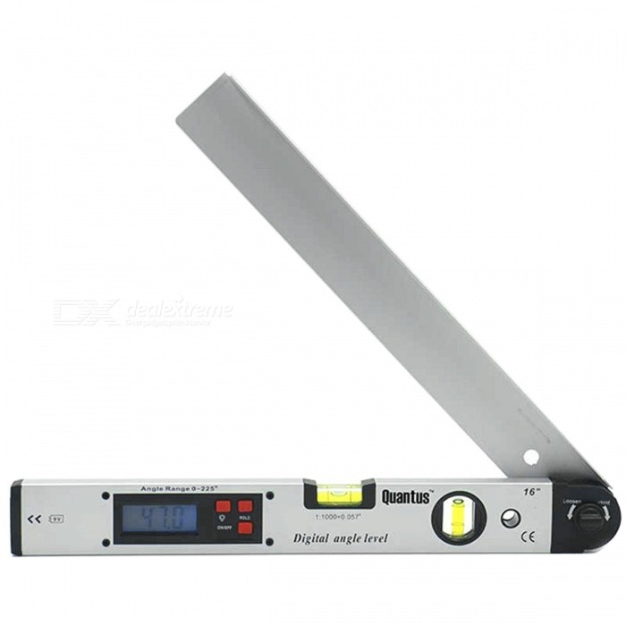 0-225 Degrees Digital Angle Level Meter Gauge Electronic ProtractorOther Measuring &amp; Analysing Instruments<br>Form  ColorSilverModel-Quantity1 DX.PCM.Model.AttributeModel.UnitMaterialStainless steelPowered ByOthers,9V BatteryBattery Number1Battery included or notNoPacking List1 x 0-225 degrees Digital Angle Level Meter (No including the battery)<br>