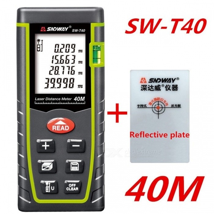 SNDWAY 40m 1.8 LCD Laser Distance Meter Range FinderLaser Rangefinder, Electronic Distance Meter<br>Form  Color40MModelSW-T40Quantity1 DX.PCM.Model.AttributeModel.UnitMaterialABSDetection Range0.05~40mMeasuring Accuracy+/-2mmLaser Level635nm, Max.Storage30 unitsDisplay1.8 LCDPowered ByAAA BatteryBattery included or notNoEnglish Manual / SpecYesPacking List1 x Laser Distance Meter1 x Portable pouch1 x Hanging rope1 x User manual<br>
