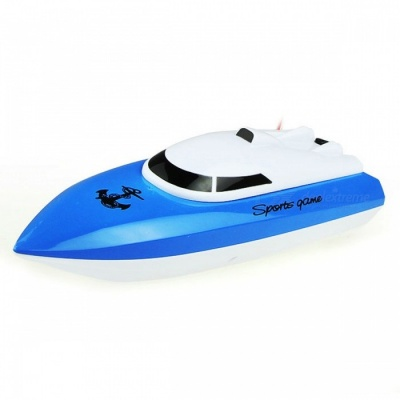 Rechargeable 4-Channel Mini RC Racing Boat - Blue