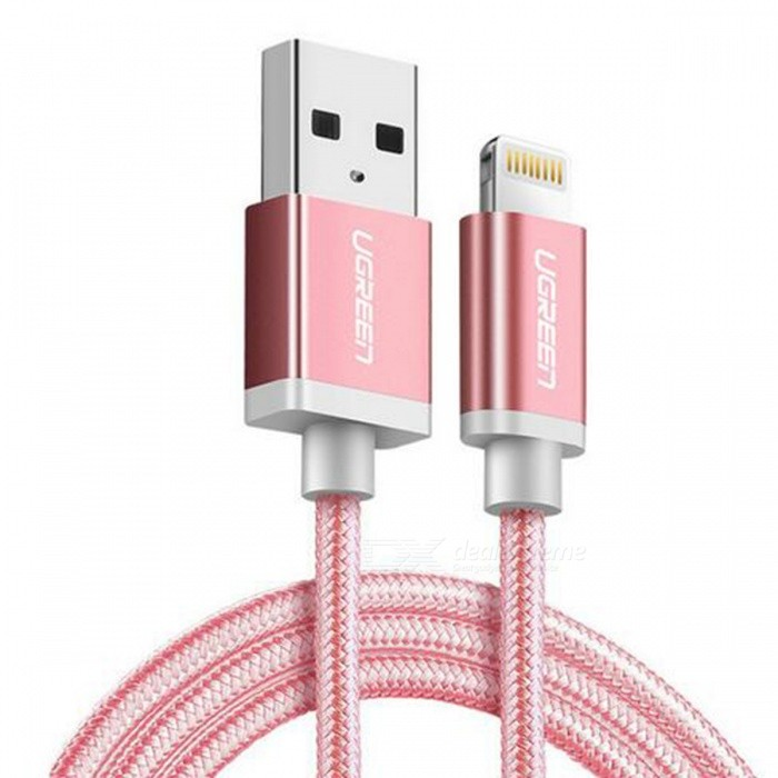 Ugreen US199 MFi Nylon Lightning Charging Data Cable - Rose Red (1.5m)Cables<br>Form  ColorRose Red (1.5m)ModelUS199Quantity1 pieceMaterialNylon braidedCompatible ModelsOthers,For All Apple Lightning 8 Pin DevicesFunctionCharging,Data syncConnectorUSB,Apple 8pin LightningCable Length150 cmCertificationMFIPacking List1 x MFI lightning cable<br>