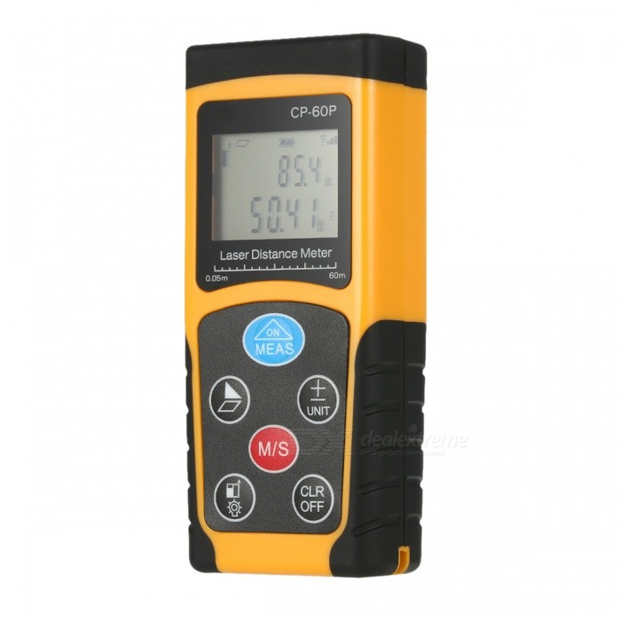 60m Portable Handheld Digital Laser Distance Meter Range FinderLaser Rangefinder, Electronic Distance Meter<br>Form  Color60MModelCP-60PQuantity1 DX.PCM.Model.AttributeModel.UnitMaterialABSDetection Range0.05~60mMeasuring Accuracy+/-1.5mmLaser Level635nm, Max.Storage10 unitsPowered ByAAA BatteryBattery included or notNoEnglish Manual / SpecYesPacking List1 x Distance Meter1 x String1 x Bag1 x User Manual<br>