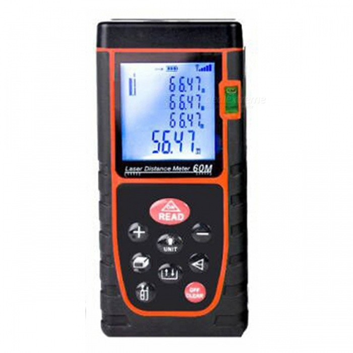 60m Digital Laser Distance Meter Range FinderLaser Rangefinder, Electronic Distance Meter<br>Form  Color60MModelN/AQuantity1 DX.PCM.Model.AttributeModel.UnitMaterialABSDetection Range0.03~60mMeasuring Accuracy+/-1.5mmLaser Level635nm, Max.Storage20 unitsPowered ByAAA BatteryBattery included or notNoEnglish Manual / SpecYesPacking List1 x Laser Distance Meter1 x Hanging rope1 x User manual 1 x Retail box1 x Reflector<br>