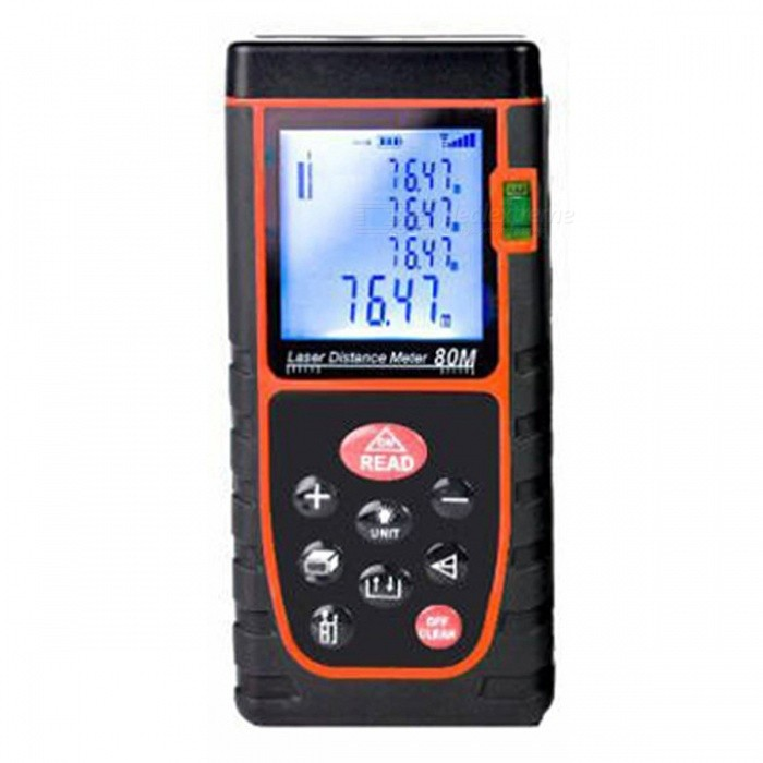 80m Digital Laser Distance Meter Range FinderLaser Rangefinder, Electronic Distance Meter<br>Form  Color80MModelN/AQuantity1 DX.PCM.Model.AttributeModel.UnitMaterialABSDetection Range0.03~80mMeasuring Accuracy+/-1.5mmLaser Level635nm, Max.Storage20 unitsPowered ByAAA BatteryBattery included or notNoEnglish Manual / SpecYesPacking List1 x Laser Distance Meter1 x Hanging rope1 x User manual 1 x Retail box1 x Reflector<br>