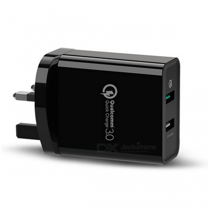 Ugreen 30W Universal Dual USB Charger w/ Quick Charge 3.0 - Black (UK)AC Chargers<br>Form  ColorBlack (UK)ModelCD132MaterialABS+ Firepoof PCQuantity1 DX.PCM.Model.AttributeModel.UnitCompatible ModelsCell Phones &amp; Tablet PCsInput VoltageAC100~240 DX.PCM.Model.AttributeModel.UnitOutput CurrentDC 5V / 3A  9V / 2A 12V / 1.5 DX.PCM.Model.AttributeModel.UnitOutput Power30 DX.PCM.Model.AttributeModel.UnitOutput Voltage5 DX.PCM.Model.AttributeModel.UnitSplit adapter number2Power AdapterUK PlugQuick ChargeQC3.0/2.0 FCPLED IndicatorNoCertificationCE RoHSPacking List1 x Charger<br>