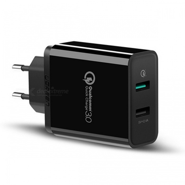 Ugreen 30W Universal Dual USB Charger with Quick Charge 3.0 - Black (EU)