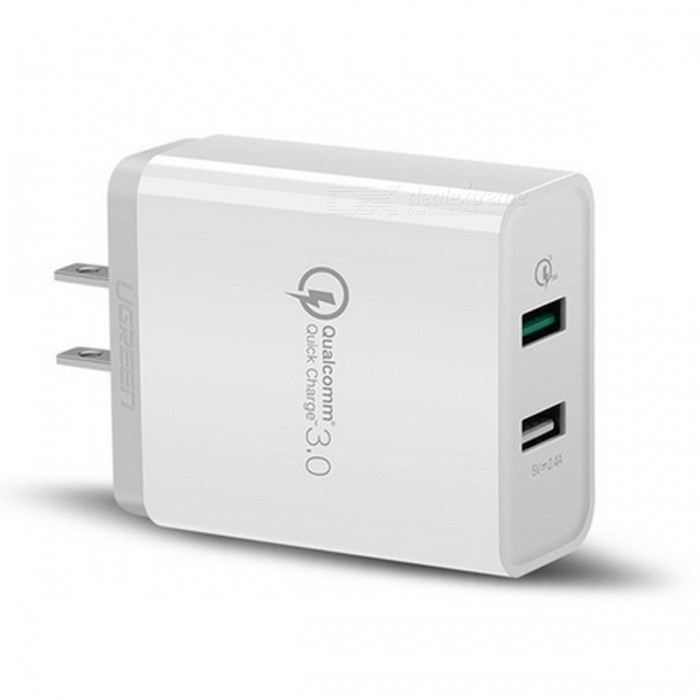 Ugreen 30W Universal Dual USB Charger w/ Quick Charge 3.0 - White (US)AC Chargers<br>Form  ColorWhite (US)ModelCD132MaterialABS+ Firepoof PCQuantity1 DX.PCM.Model.AttributeModel.UnitCompatible ModelsCell Phones &amp; Tablet PCsInput VoltageAC100~240 DX.PCM.Model.AttributeModel.UnitOutput CurrentDC 5V / 3A  9V / 2A 12V / 1.5 DX.PCM.Model.AttributeModel.UnitOutput Power30 DX.PCM.Model.AttributeModel.UnitOutput Voltage5 DX.PCM.Model.AttributeModel.UnitSplit adapter number2Power AdapterUS PlugQuick ChargeQC3.0/2.0 FCPLED IndicatorNoCertificationCE RoHSPacking List1 x Charger<br>