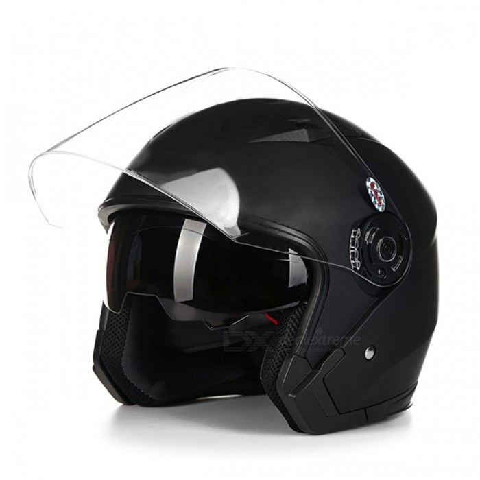 Motorcycle Open Face Helmet with Dual Lens - Black (L)