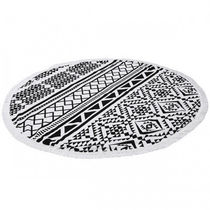 150cm Microfiber Round Beach Towel - Black, White