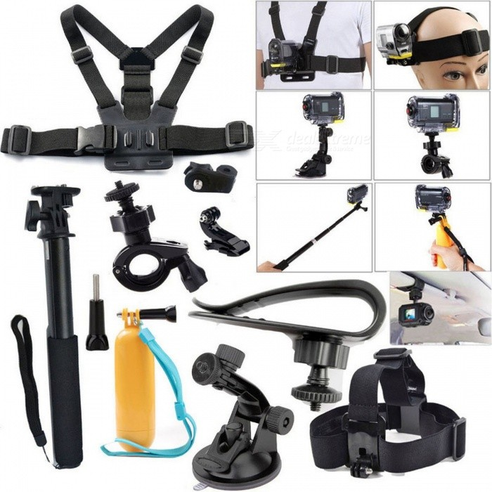 Accessories Kit Set for Gopro SJCAM Xiaomi Yi Sports Action CameraOther GoPro Accessories<br>Form  ColorBlackQuantity1 DX.PCM.Model.AttributeModel.UnitMaterialPlasticShade Of ColorBlackPacking List1 x Extendable Handle Monopod1 x Floating Handle Grip Pole1 x Car sun vison1 x Bike mount holder1 x Car suntion cup1 x Tripod mount adapter1 x Chest strap mount1 x Head strap mount<br>