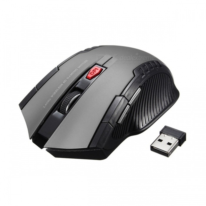 Mini Portable 2.4Ghz 2000DPI Adjustable Wireless Gaming Mouse - GreyWireless Mouse<br>Form  ColorGreyQuantity1 DX.PCM.Model.AttributeModel.UnitMaterialABSShade Of ColorGrayInterfaceUSB 2.0Wireless or Wired2.4G WirelessOptical TypeLEDBluetooth VersionNoPowered ByAAA BatteryBattery included or notNoBattery Number2Supports SystemOthers,UniversalTypeGamingPacking List1 x 2.4GHz Wireless Portable Optical Mouse1 x USB receiver<br>