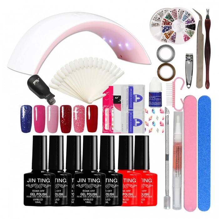 Nail Art Full Manicure Tool Set to Beginner - EU Plug (Color No. 05)Nail Care and Art<br>Form  ColorColor No. 05ModelN/AMaterialN/AQuantity1 DX.PCM.Model.AttributeModel.UnitShade Of ColorMulti-colorPacking List1 x 24W Led lamp 6 x High quality Gel polish1 x Dead skin pusher2 x Longer(100*180) buffer 1 x Soak off Base gel polish1 x Soak off Top coat gel polish2 x Fashion Nail Sticker1 x Cuticle Oil (Random Smell)1 x 10Pair Nail polish Remover1 x 3 Sheet French Tips1 x Nail clippers1 x 3g Nail Glue1 x Nail Display Card1 x 2 Pieces Striping Tape Line10 x Black color Remover Wrap 1 x Nail Nipper<br>