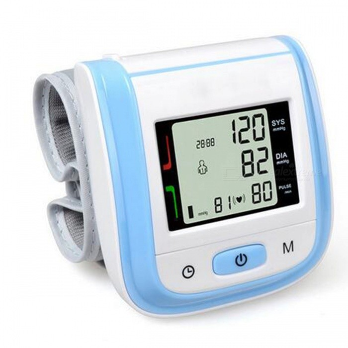 Home Health Care Automatic Wrist Blood Pressure Monitor - BlueBlood Pressure Meters<br>Form  ColorBlueModelYK-BPWMaterialABSQuantity1 DX.PCM.Model.AttributeModel.UnitShade Of ColorBlueDisplayLEDMeasuring MethodAutomaticDetection Range-Pressure Accuracy-Average Value-Voice FunctionNoPulse Accuracy-Exhausting Method-Mode of Operation-Pressure Way-Mode MemoryYesNumber of Memory99Pulse Rate-Arm Sling Size19.5 DX.PCM.Model.AttributeModel.UnitAir Tube Length0 DX.PCM.Model.AttributeModel.UnitPowered ByAAA BatteryBattery included or notNoBattery Number2Other FeaturesWorking Voltage: 3V ( AAA * 2 );<br>For wrist circumference range:13.5cm-19.5cm;Packing List1 x Blood pressure monitor1 x Instruction<br>