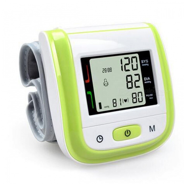 Home Health Care Automatic Wrist Blood Pressure Monitor - GreenBlood Pressure Meters<br>Form  ColorGreenModelYK-BPWMaterialABSQuantity1 DX.PCM.Model.AttributeModel.UnitShade Of ColorGreenDisplayLEDMeasuring MethodAutomaticDetection Range-Pressure Accuracy-Average Value-Voice FunctionNoPulse Accuracy-Exhausting Method-Mode of Operation-Pressure Way-Mode MemoryYesNumber of Memory99Pulse Rate-Arm Sling Size19.5 DX.PCM.Model.AttributeModel.UnitAir Tube Length0 DX.PCM.Model.AttributeModel.UnitPowered ByAAA BatteryBattery included or notNoBattery Number2Other FeaturesWorking Voltage: 3V ( AAA * 2 );<br>For wrist circumference range:13.5cm-19.5cm;Packing List1 x Blood pressure monitor1 x Instruction<br>