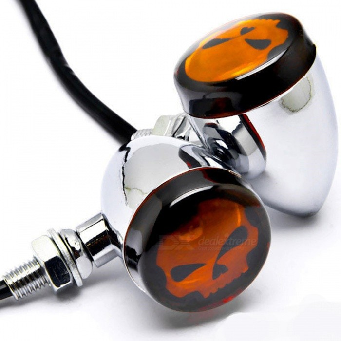 Motorcycle-Skull-Lens-Style-Chrome-Turn-Signal-Lights-for-Harley