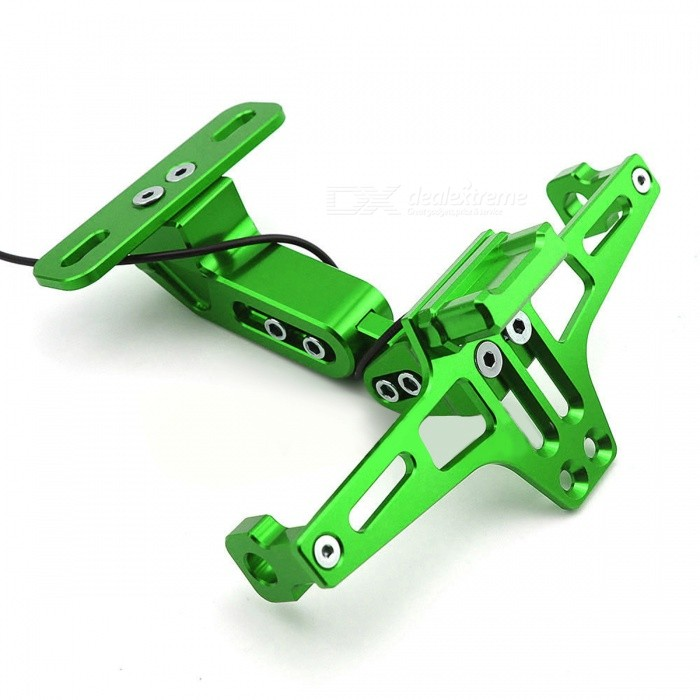 Universal Motorcycle Rear License Plate Mount Holder w/ Light - Green
