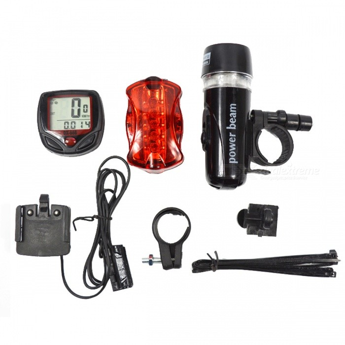 5-LED 3-Mode Mountain Bike Cycling Light and Bicycle SpeedometerBike Lights<br>Form  ColorBlack + MulticolorModelN/AQuantity1 DX.PCM.Model.AttributeModel.UnitMaterialPlasticEmitter BrandOthers,N/ALED TypeOthers,N/AEmitter BINQ5Number of Emitters1Color BINCold WhiteWorking Voltage   N/A DX.PCM.Model.AttributeModel.UnitPower Supply3* AAAbatteries (not included)CurrentN/A DX.PCM.Model.AttributeModel.UnitActual LumensN/A DX.PCM.Model.AttributeModel.UnitRuntimeN/A DX.PCM.Model.AttributeModel.UnitNumber of Modes3Mode ArrangementHi,Low,SOSMode MemoryNoSwitch TypeForward clickyLensPlasticReflectorOthers,N/AFlashlight MountingHandlebarSwitch LocationTailcap,Tail TwistyBeam Range30 DX.PCM.Model.AttributeModel.UnitPacking List1 x Bike Head Light with Quick release bracket 1 x Rear Safety Flashlight with Quick release bracket 1 x Bike LCD Bicycle Speedometer<br>