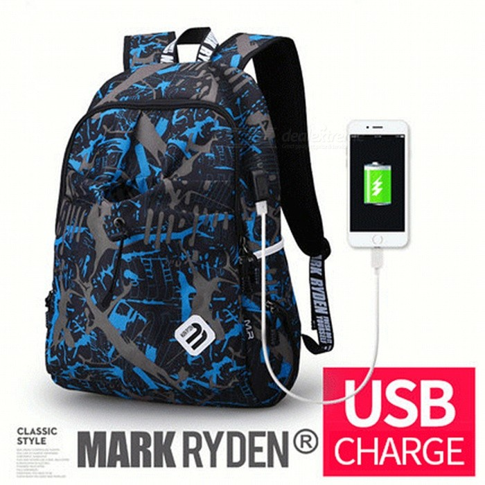 Buy Portable Backpack with USB Port for Men Women - Dynamic Planet USB with Litecoins with Free Shipping on Gipsybee.com