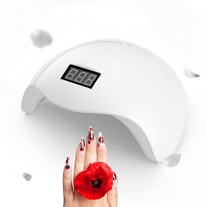 SUNUV SUN5X 48W Dual UV LED Nail Lamp With Bottom 30s/60s Timer LCD DisplayNail Care and Art<br>Form  ColorWhiteModelSUN5XMaterialPlasticQuantity1 DX.PCM.Model.AttributeModel.UnitShade Of ColorWhiteCertificationCCC,CE,GSOther FeaturesPlugs Type:EU Plug; <br>Adapter: Rated input 100-240V 50/60Hz 1A;    <br>Power: 48W; <br>Wavelength: 365+405nm; <br>Fit Gel Type: UV Gel / LED Gel / Builder / Hard gels; Life time: 50000hrsForm  ColorWhitePacking List1 x Nail Lamp<br>