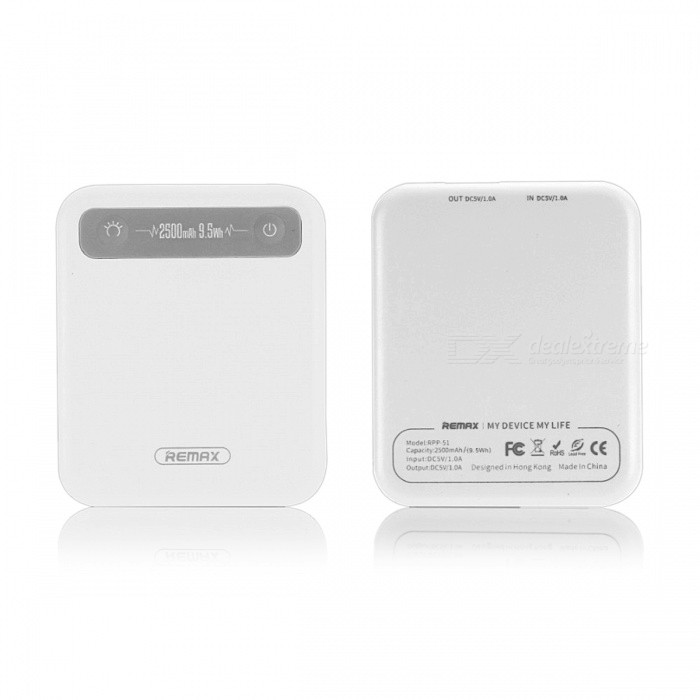 Remax General Portable 2500mAh Pino Mini Power Bank - WhiteMobile Power<br>Form  ColorWhiteModelRPP-51Quantity1 DX.PCM.Model.AttributeModel.UnitMaterialABSShade Of ColorWhiteCompatible ModelsOthers,universalCompatible TypeUniversalBattery TypeLi-polymer batteryBuilt-in Battery ModelOthers,-Voltage5 DX.PCM.Model.AttributeModel.UnitCapacity Range2001mAh~3000mAhNominal Capacity2500 DX.PCM.Model.AttributeModel.UnitBattery Measured Capacity 2500 DX.PCM.Model.AttributeModel.UnitInputDC 5V~1AOutput interface, output current, output voltage-Charging Time4 DX.PCM.Model.AttributeModel.UnitWorking Time2 DX.PCM.Model.AttributeModel.UnitFeaturesOthers,-CertificationCE,CCC,RoHSPacking List1 x Power Bank<br>