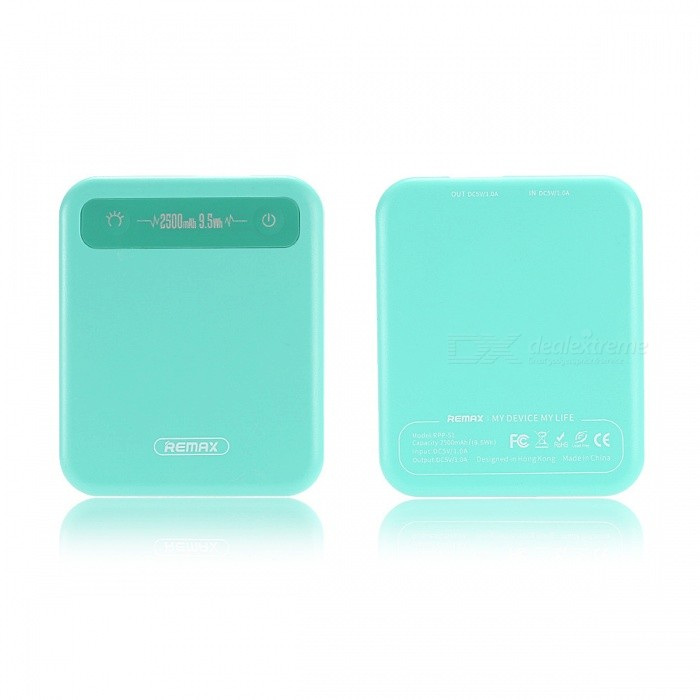 Remax General Portable 2500mAh Pino Mini Power Bank - BlueMobile Power<br>Form  ColorBlueModelRPP-51Quantity1 DX.PCM.Model.AttributeModel.UnitMaterialABSShade Of ColorBlueCompatible ModelsOthers,UniversalCompatible TypeUniversalBattery TypeLi-polymer batteryBuilt-in Battery ModelOthers,-Voltage5 DX.PCM.Model.AttributeModel.UnitCapacity Range2001mAh~3000mAhNominal Capacity2500 DX.PCM.Model.AttributeModel.UnitBattery Measured Capacity 2500 DX.PCM.Model.AttributeModel.UnitInputDC 5V~1AOutput interface, output current, output voltage-Charging Time4 DX.PCM.Model.AttributeModel.UnitWorking Time2 DX.PCM.Model.AttributeModel.UnitFeaturesOthers,-CertificationCE,CCC,RoHSPacking List1 x Power Bank<br>