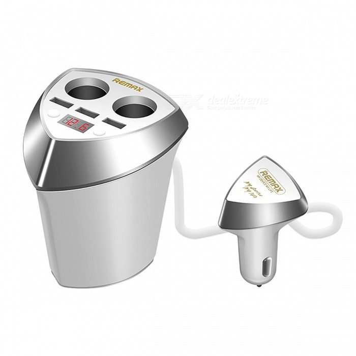 Remax Cup Smart Car Charger w/ 3 USB Ports Voltage Display - WhiteAC Chargers<br>Form  ColorWhiteModelCR-3XPMaterialABS + PCQuantity1 DX.PCM.Model.AttributeModel.UnitCompatible ModelsUniversalInput VoltageDC12~24 DX.PCM.Model.AttributeModel.UnitOutput CurrentDC 5V 1A <br>DC 5V 3.4 DX.PCM.Model.AttributeModel.UnitOutput Voltage5 DX.PCM.Model.AttributeModel.UnitPower AdapterCar Cigarette Lighter PlugQuick ChargeYesLED IndicatorYesCertificationCEPacking List1 x Car Charger<br>