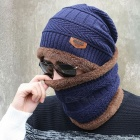 New-Knitted-Fashion-Beanies-Knit-Mens-Winter-Hat-Navy-with-Collar