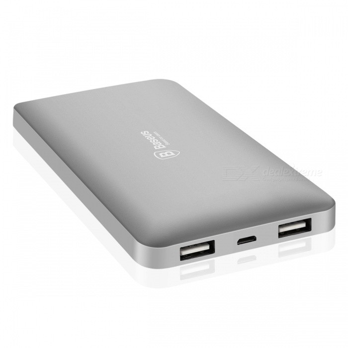 Baseus Portable 10000mAh Dual USB Power Bank - GrayMobile Power<br>Form  ColorGreyQuantity1 DX.PCM.Model.AttributeModel.UnitMaterialAluminum alloyShade Of ColorGrayCompatible ModelsOthers,universalCompatible TypeUniversalBattery TypeLi-polymer batteryBuilt-in Battery ModelOthers,-Voltage5 DX.PCM.Model.AttributeModel.UnitCapacity Range9001mAh~10000mAhNominal Capacity10000 DX.PCM.Model.AttributeModel.UnitBattery Measured Capacity N/A DX.PCM.Model.AttributeModel.UnitInput5V/1AOutput interface, output current, output voltage5V/2.1ACharging TimeN/A DX.PCM.Model.AttributeModel.UnitWorking TimeN/A DX.PCM.Model.AttributeModel.UnitQuick ChargeyesFeaturesOthers,-CertificationCCC, CE, RoHS, ETLPacking List1 x Power Bank<br>