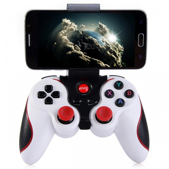 Wireless Joystick Bluetooth 3 0 Android Gamepad + Holder - White