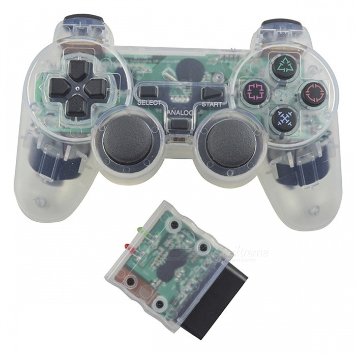 2.4GHz Bluetooth Wireless Vibration Controller Joystick for Sony PS2Controllers<br>Form  ColorWhiteQuantity1 setMaterialPlasticShade Of ColorWhiteCompatible ModelsPS2ConnectionBluetoothBluetooth VersionOthers,-Wireless Frequency Band2.4 fpsBattery Measured Capacity / mAhOperating Range10 mPacking List1 x Wireless Game Controller<br>