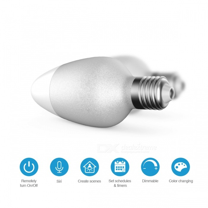 E27 8W Smart Wi-Fi LED Light Bulb with APP ControlSmart Lighting<br>Color BINChangeableMaterialPlastic and PBTForm  ColorWhite + GreyQuantity1 DX.PCM.Model.AttributeModel.UnitPowerOthers,8WRated VoltageAC 220-240 DX.PCM.Model.AttributeModel.UnitConnector TypeE27Emitter TypeLEDTotal Emitters1Actual Lumens500 DX.PCM.Model.AttributeModel.UnitColor Temperature12000K,Others,-DimmableYesPacking List1 x Smart Light Bulb1 x Quick Start Guide (English)<br>