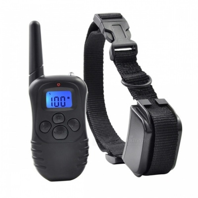 """998DR-1 0.9"""" LCD USB Rechargeable Remote Pet Training Collar - US Plug"""