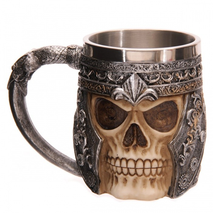 Buy Resin Tankard Viking Skull Beer Mug -  Antique Silver with Litecoins with Free Shipping on Gipsybee.com