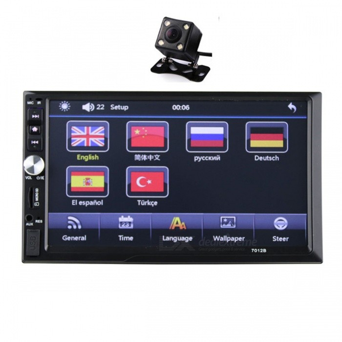 New 2 Din 6.6 LCD Touch Screen Car Bluetooth Stereo Auto Radio Player with Rear View CameraCar DVD Players<br>Form  ColorWith CameraModelN/AQuantity1 DX.PCM.Model.AttributeModel.UnitMaterialABS,Electronic Components,MetalStyle2 Din In-DashFunctionOthers,Clock Function, Mute Function, Bluetooth Function, With Remote Control, TF Card Slot, USB 2.0 PortCompatible MakeOthers,Universal size 2 dinCompatible Car ModelUniversal size 2 dinCompatible YearOthers,UniversalScreen SizeOthers,6.6 InchScreen Resolution440*240Touch Screen TypeYesMenu LanguageOthers,English,Spanish,German,French,Russian,Italian,polish,Portuguese,ChineseOperating SystemOthers,N/AAudio FormatsOthers,MP3/WMA/WAV/MKV/FLAC/OGG/APEVideo FormatsOthers,RM/RMVB/VOB/DAT/MP1/MP2/DIVX/XVID/MP4/H263/H264/FLV/3GP/SWF/AVI/ASF/MJPEG ectRadio TunerFMRadio Response BandwidthOthers,87.5MHz-108.00MHz (Europe)Bluetooth VersionOthers,YesExternal Memory Max. Support32 DX.PCM.Model.AttributeModel.UnitWorking Voltage   12 DX.PCM.Model.AttributeModel.UnitPacking List1 x Car radio MP5 player<br>