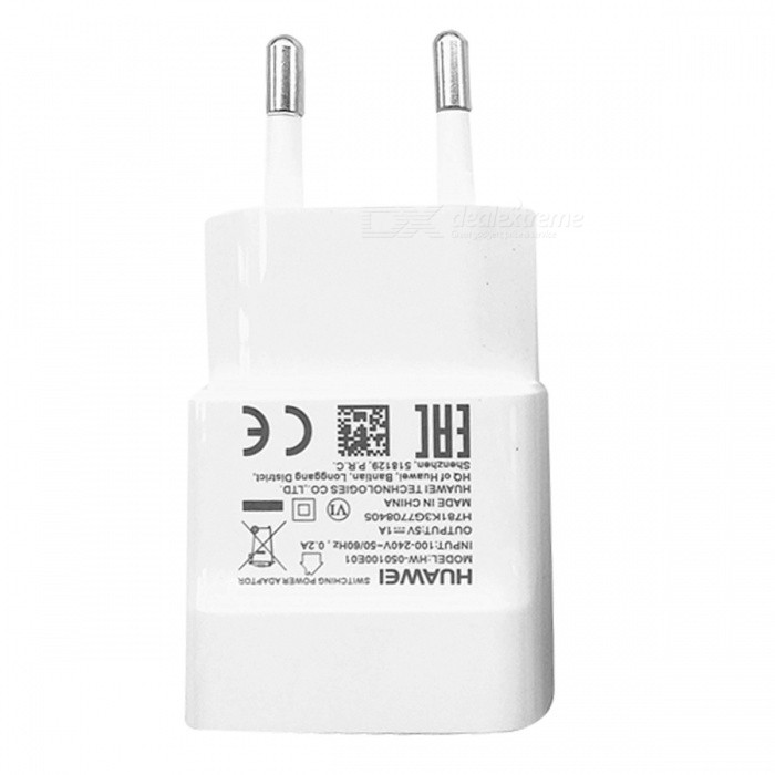 Huawei 5V 1A AC Wall Charger w/ Data Sync Charging Cable - White (EU Plug)