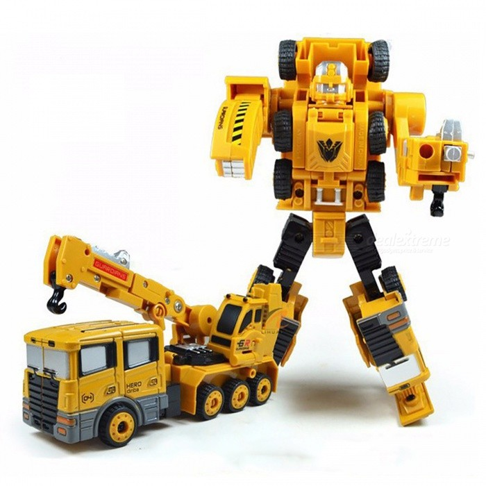 Transformation Robot Car Hoisting Machine Zinc Alloy Engineering Construction Vehicle 2-in-1 Assembly Deformation Toy for Kids